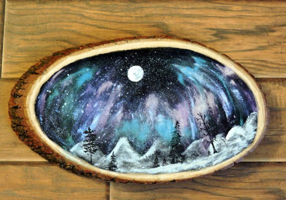 Northern Lights Painting on Large Wood Slice art by outofthedoor