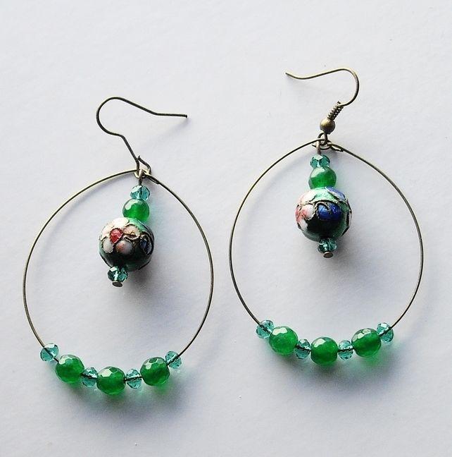 Cloisonne and Gemstone Bead Bronze Plated Hoop Earrings £4.50