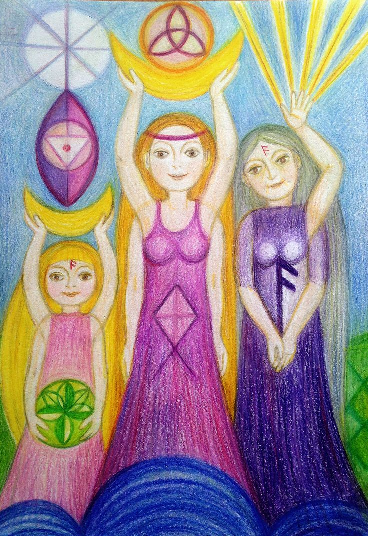 Priestess and her Tripple Goddess by Ivana Axman #goddess #priestess #symbols #pagan #witch #visionaly #wicca #rune art
