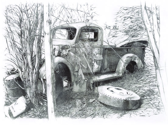 This pencil sketch of an old truck and a young girl passing through time is sketched in detail here. You have to look to find the young maiden but she is there. www.bergerfinearts.com