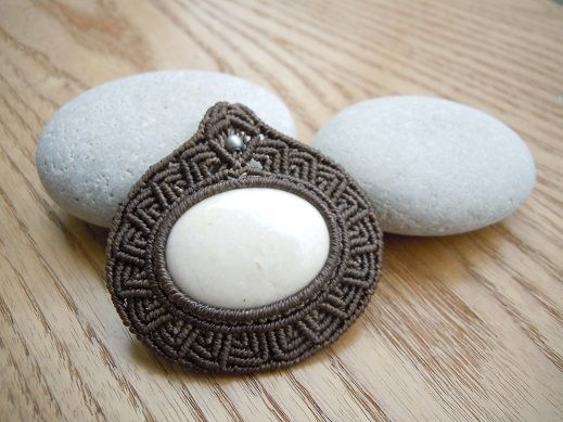 macrame wrapped stone