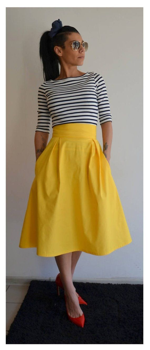 3d1c345aa63 Maxi Full Skirt  Women Loose Bridal Party Skirt  Wedding Midi Yellow Skirt   Daywear Loose Cotton Ski