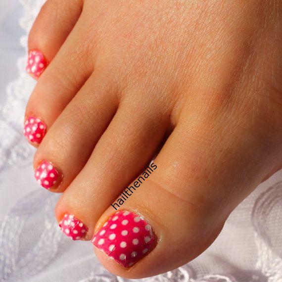 Pink Polka Dot Nail Art Water Transfer Decal by Hailthenails, £2.49