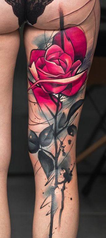 Big Red Rose #Tattoo – Tatouage Fleurs / Roses – # Roses Fleur # Taille #Rose # …   – Tätowierungen für Frauen