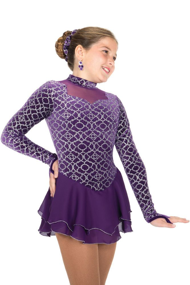 COMPETITION SKATING DRESS 592 aubergine JERRY MADE ORDER 3 WEEKS FABRICATION