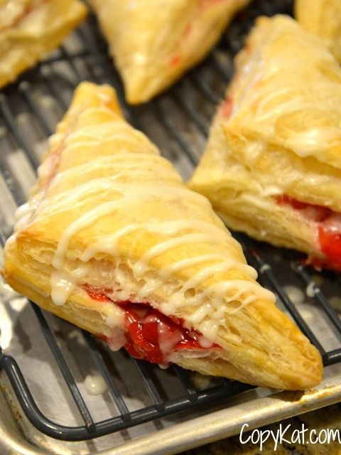 Arby's Cherry Turnovers.  Make your own, and serve these up anytime.  Make from frozen puff pastry and canned cherry pie filling.  #copycat #copycatrecipe Recipe from CopyKat.com