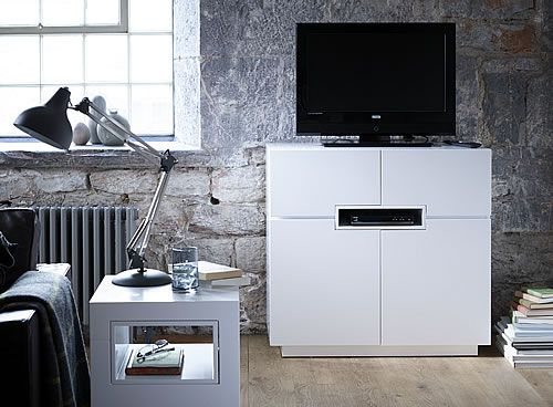 Contemporary White Media Unit / Sideboard - Tall