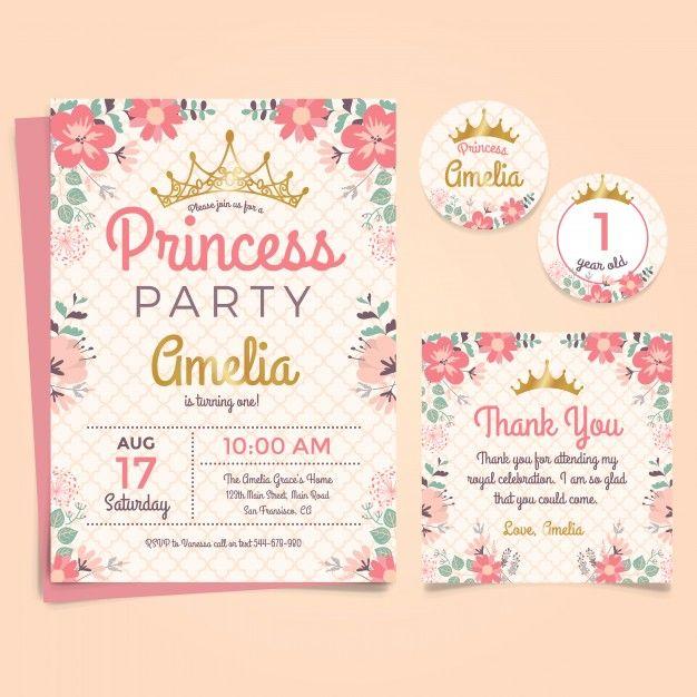 Принцесса Приглашение на день рождения с короной и цветами Бесплатные векторы