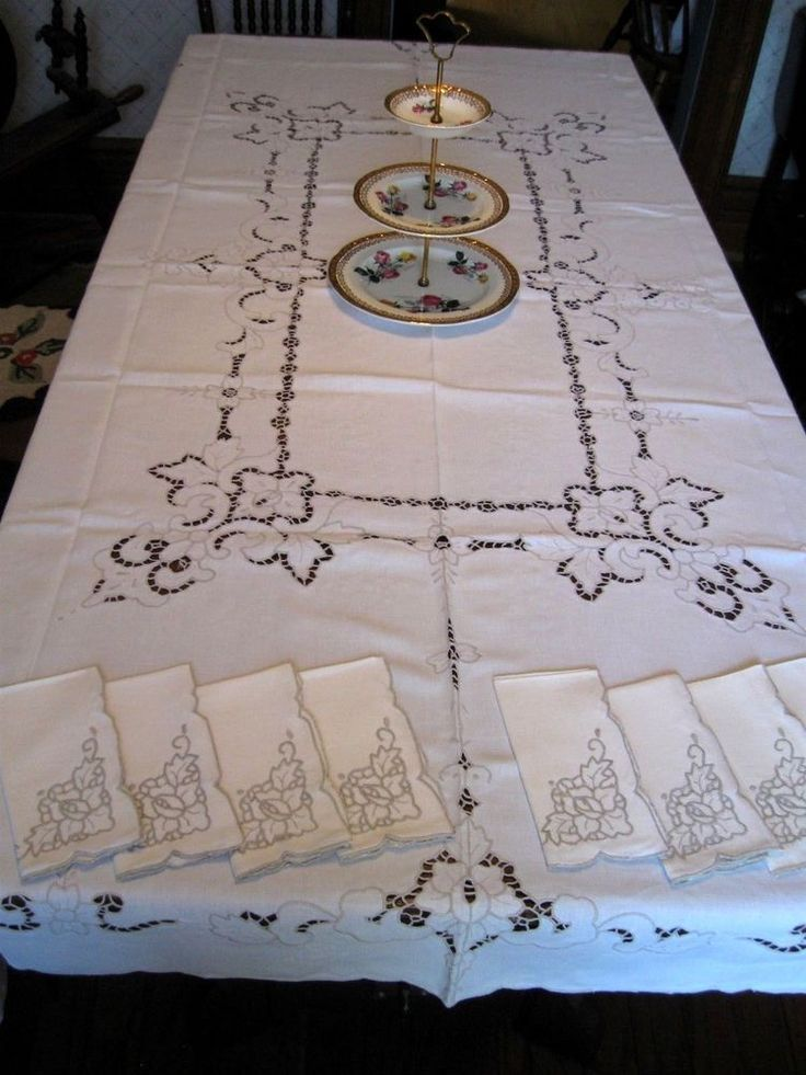 LARGE BANQUET Antique/Vintage MADEIRA ROSE EMBROIDERY LINEN Tablecloth +8 Napkin