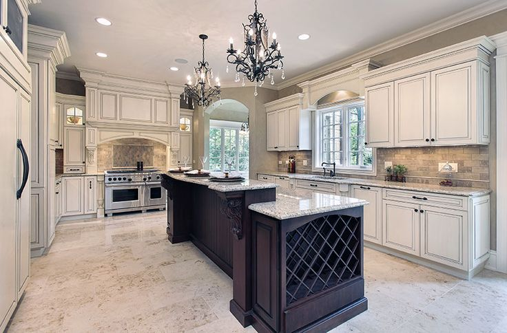 Luxury kitchen with antique white cabinets long wood for Antique white kitchen cabinets with dark island