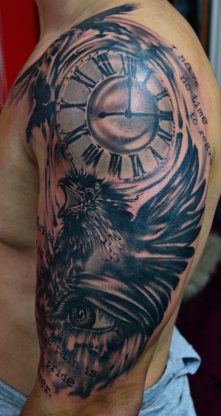 Raven with Clock Tattoo   BLACK & GREY TATTOOS   Tattoos ...