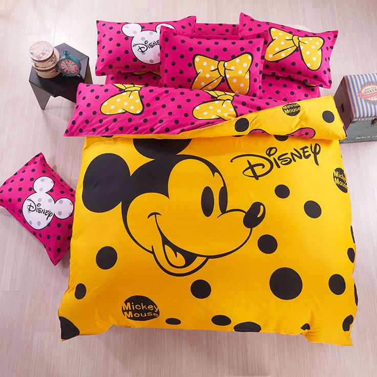 Deep Pink: And Yellow Mickey Mouse Disney Bedding Set