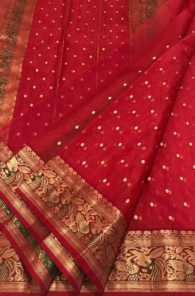bef15b622607bf Red Handloom Chanderi Pure Katan Silk Ghani Booti Saree With Meenakari  Border