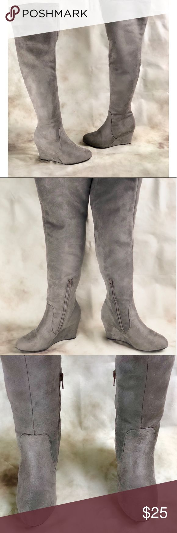 Chinese Laundry Grey Faux Suede Knee High Boots Women's size 7, dove grey Knee High faux suede wedge boots. Stretchy shaft, low Wedge. Pre owned but in like new condition. Shoe only shows signs of wear on sole. Any discoloration in the photo is simply lighting: these boots are in great cosmetic condition. Chinese Laundry Shoes Over the Knee Boots