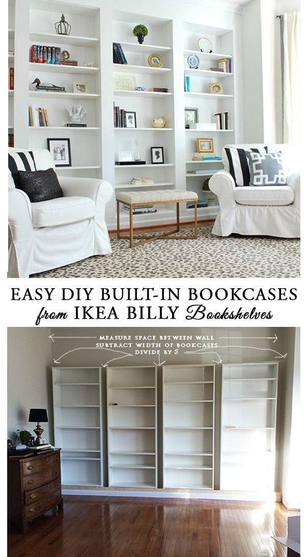 Wie man einfach eingebaute Bücherregale aus IKEA Billy Bücherregalen und einfache IKEA
