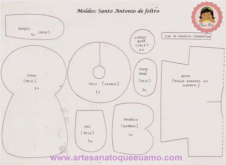 Santo Antonio de feltro com molde - # 1 Projeto por mês - Artesanato que eu amo