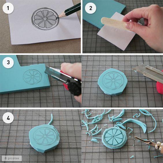 diy tutorial stempel selber machen basteln pinterest sellos caseros sellos hechos a. Black Bedroom Furniture Sets. Home Design Ideas