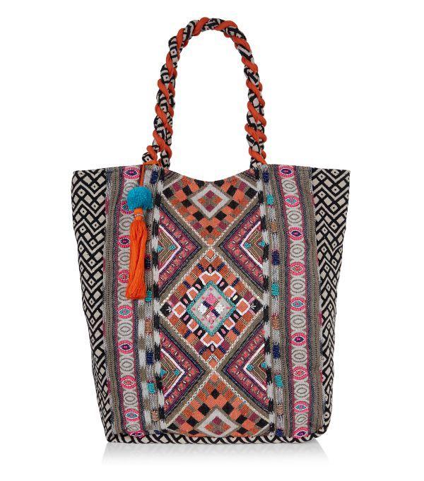 Orange Aztec Embroidered Tote Bag    New Look