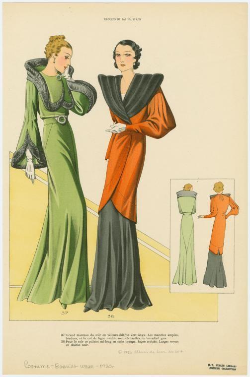 Stunning coats - especially the orange one! 130's fashion plates via the NYPL Digital Gallery