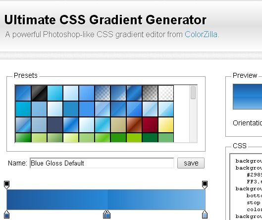 Ultimate CSS Gradient Generator |  A powerful Photoshop-like CSS gradient editor from http://www.colorzilla.com/gradient-editor/