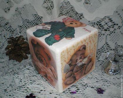 """Кубик деревянный """"Мишки"""" - кубики,кубик,игрушка деревянная,для детей"""