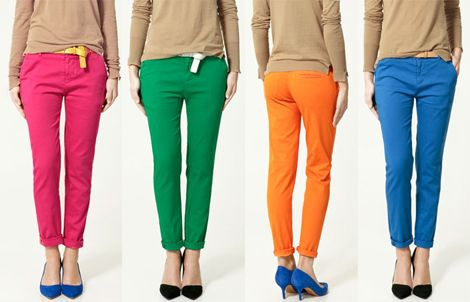 I love these bright pants from Zara (by way of Oh Joy!)  I think I might go looking for the blue and the green.