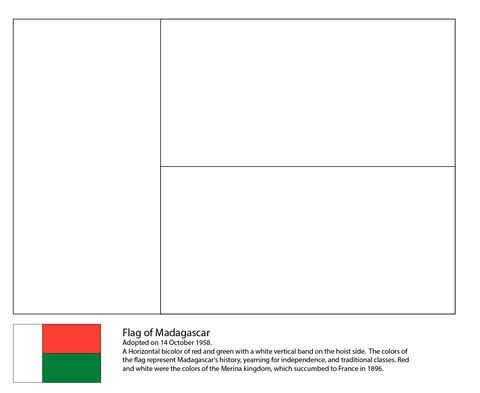 Flag of Madagascar coloring page from African flags category. Select from 24992 printable crafts of cartoons, nature, animals, Bible and many more.