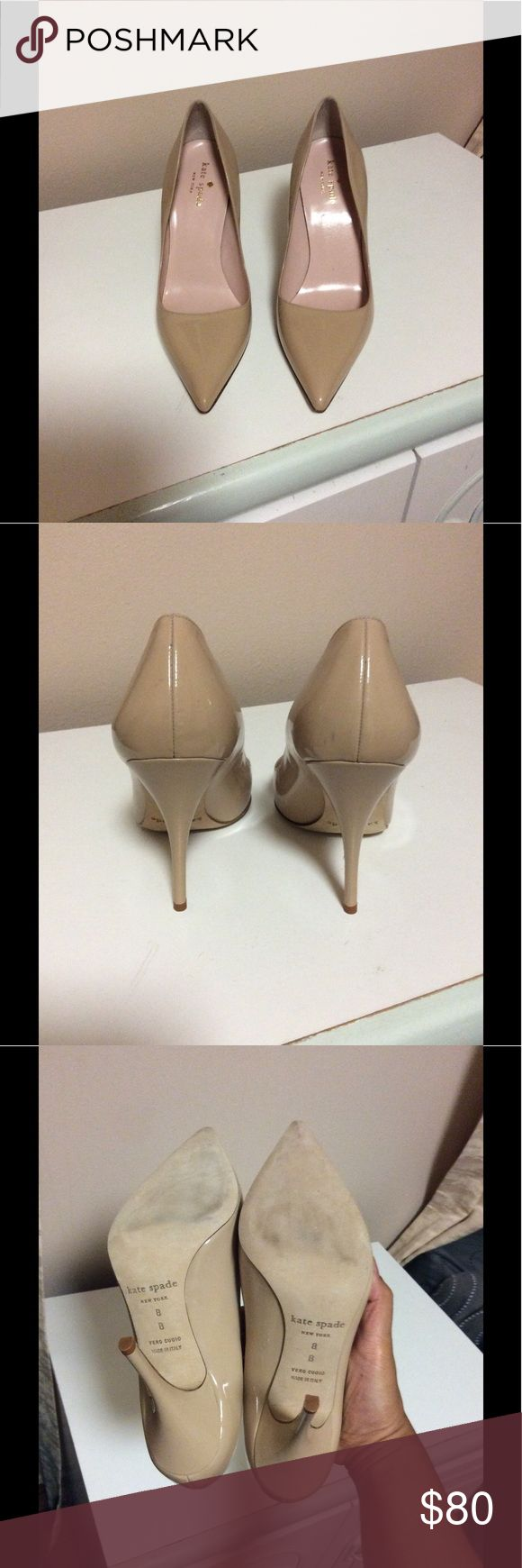 Authentic Kate Spade Licorice Heels Beautiful pair of nude heels in very good condition. 4 inch heel. Please look at pictures 2,4,5 and 6 to see small stains. kate spade Shoes Heels
