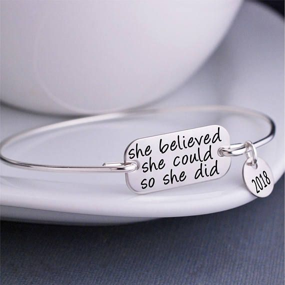 positive inspirational jewelry Charm Bracelet She Believed She Could so she did encouragement bracelet with charms bangle bracelet gift