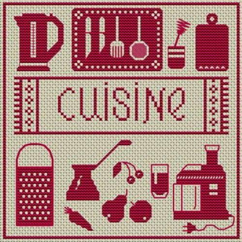 Grille gratuite point de croix ustensile de cuisine - Point de croix cuisine ...