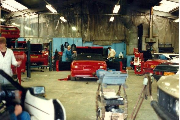 TVR workshop in the factory in Blackpool 1987