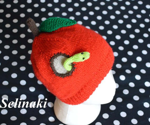 Knit Apple Hat with Worm  Handmade by me with 100% acrylic yarns.  Ready to ship.  Thanks for looking and please contact me for any questions.  (Colors may appear differently in real life due to camera and monitor settings)