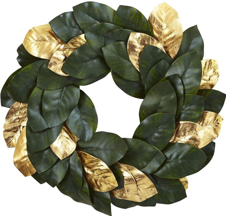 golden leaf faux magnolia wreath