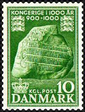 """Denmark 1953. Jelling Runic Stone. The stamp is the first of ten stamps in the Danish millennium series commemorating """"Kingdom through 1000 years"""" (the period 900-1000)."""