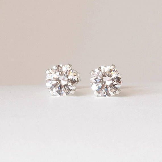 White CZ earring studs Sterling silver 6mm Imitation diamond