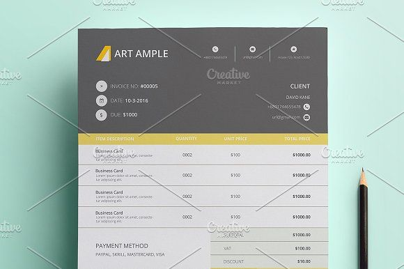 Professoinal Invoice with Ms Word by art_ample on @creativemarket