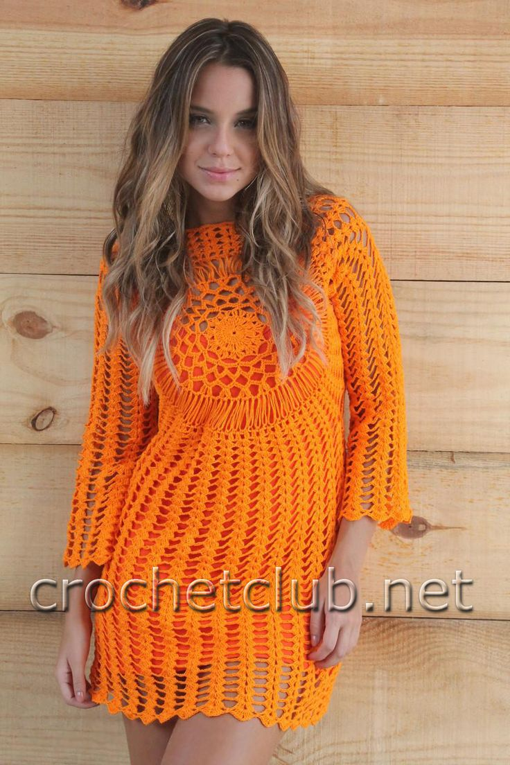оранжевое платье крючком