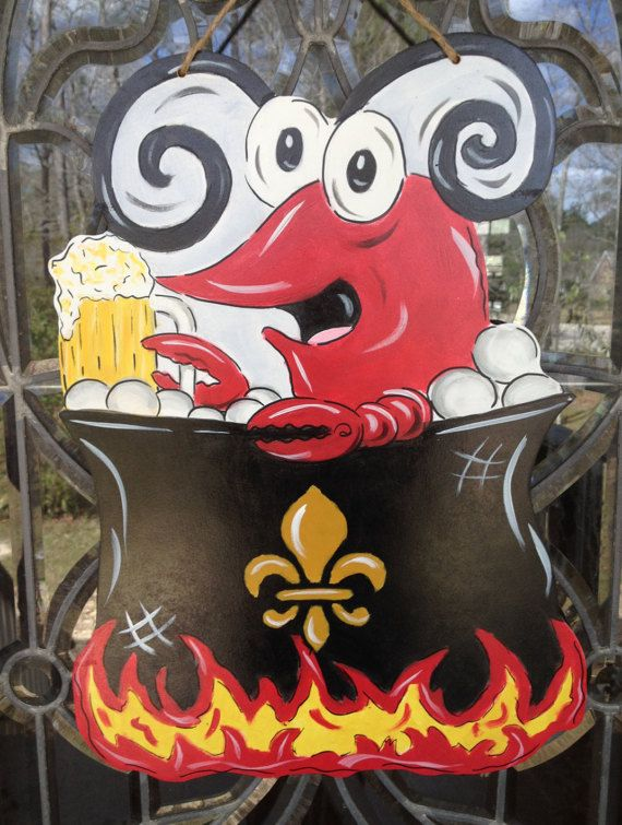 Wouldnt this be a great door hanger for a crawfish boil or just hanging throughout the crawfish season! It is approx. 16 x 24. A name instead of the fleur de lis can be put on the pot. Just mention it when ordering. This would make a great gift for a teacher, friend, or a wedding shower couples gift