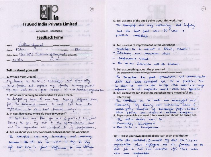 20 best Feedback Forms of u0027New Delhi Institution of Management - presentation feedback form