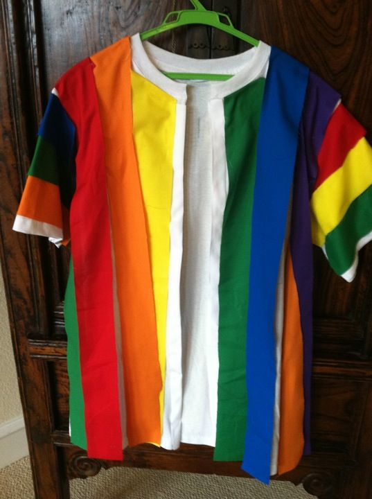 Joseph coat - made from T-shirt and colorful strips of fabric - all you need is a glue gun.