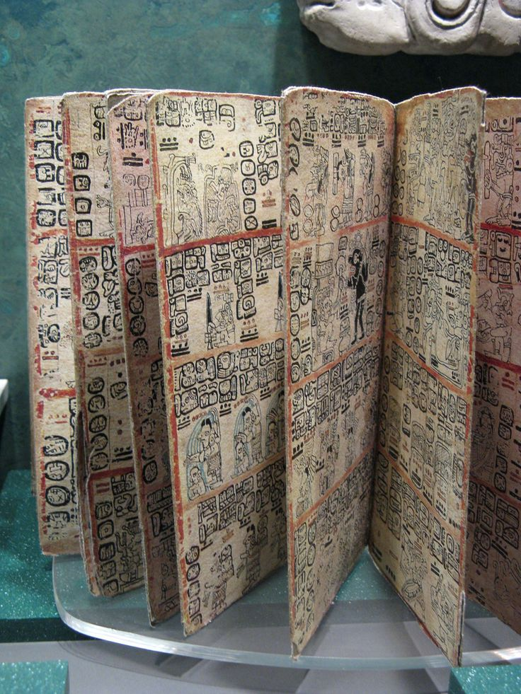 Maya Codices. Spot any of the bars with dots over them. Each individual bar represents the number 5, whereas each dot represents one. It's a lot like Roman numerals where you add the numbers up to get the one that is meant to be depicted. For instance, on the top of the page with the dark figure, there is a row of two bars with three dots over them. Each of those represent the number 13. If that is a is part of a calendrical date or a count on goods, I have no idea...