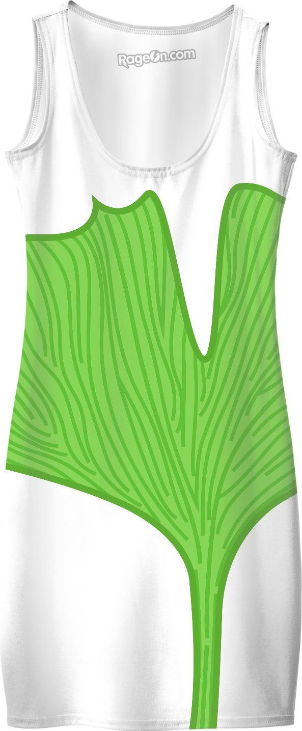 New designers dress in Shop : green Gingko. Original designers hand-drawn fashion.