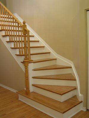 Randell Carpentry Ottawa curved and straight stairs refacing or recaping specialist and kitchen cabinet maker