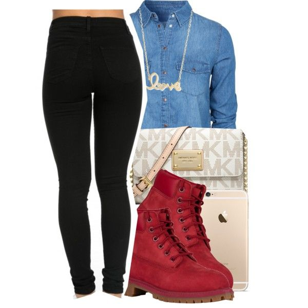 #schoolfits by eazybreezy305 on Polyvore featuring polyvore, fashion, style, New Look, MICHAEL Michael Kors, Sydney Evan, Timberland, clothing, schoolflow and schoolstyle
