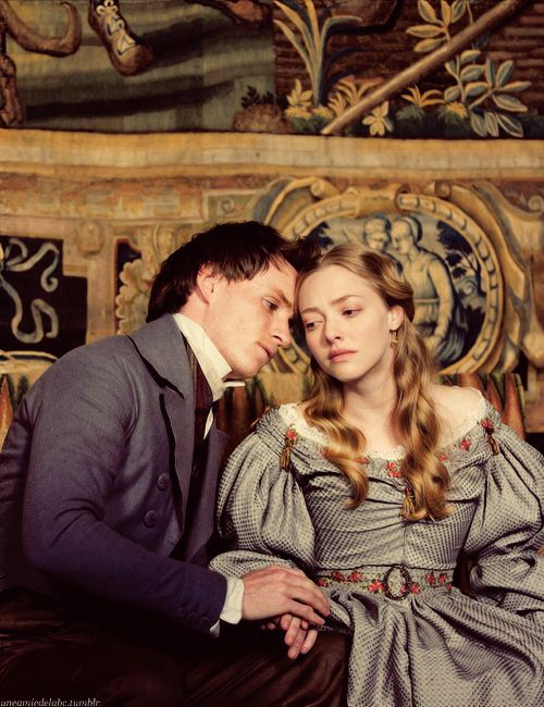 Okay, nearly JUMPED OUT OF MY SKIN over this one. Omigoodness, look at the detail on her dress! Her hair is gorgeous. She doesn't look like a ditzy blonde, either--she looks appropriately grave over...something. Not sure when this scene takes place. And Marius!!!! They are going to be the best Marius and Cosette EVER. I'm having a very bad case of fangirling here....