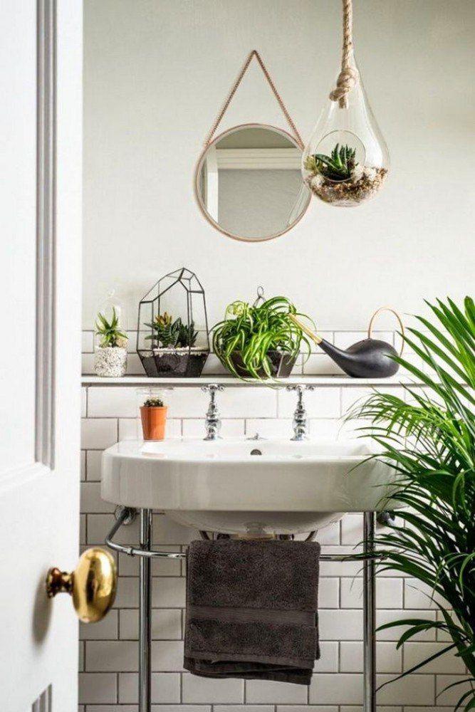 Мини-сад в ванной Если вы являетесь счастливым обладателем ванной комнаты с окном, то завести в ней растения не составит труда. А если у вас, как у многих из нас, окна в ванной нет, то отчаиваться тоже не стоит: на этот случай существуют фитолампы и неприхотливые растения  #дизайн #интерьер #стиль #ремонт #отделка #ванная #сантехника #плитка
