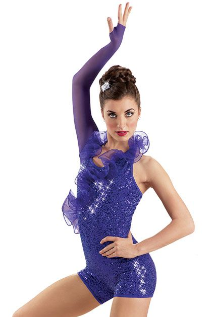 One-Sleeved Sequin Biketard -Weissman Costumes