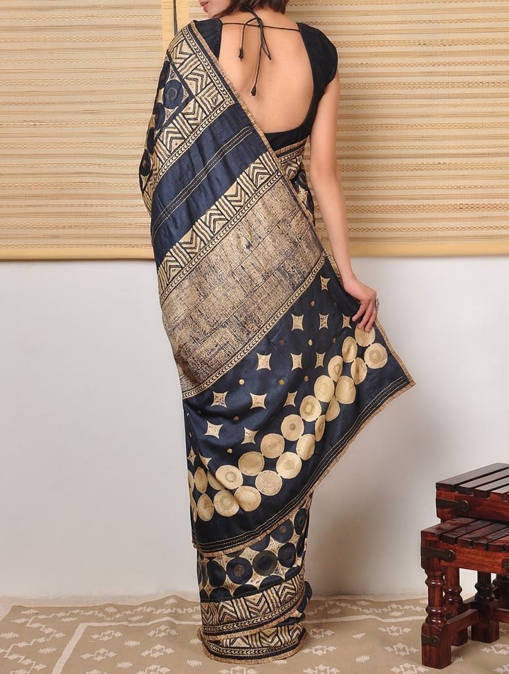 Tussar Saree with Kantha at Jaypore.