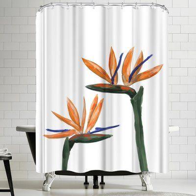 East Urban Home Jetty Printables Birds Of Paradise Peekaboo Shower Curtain