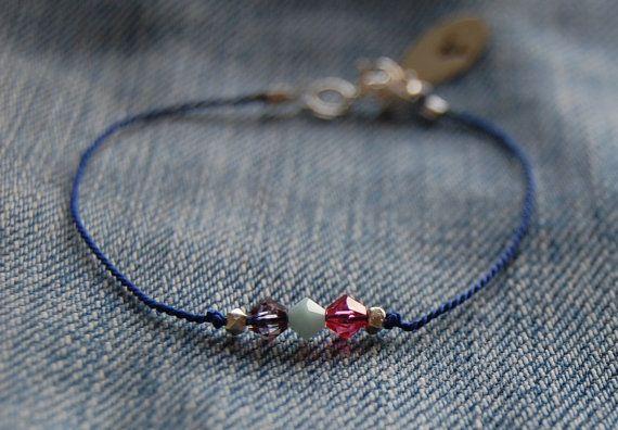 Silk thread bracelet with swarovski crystals and by AasJewelry
